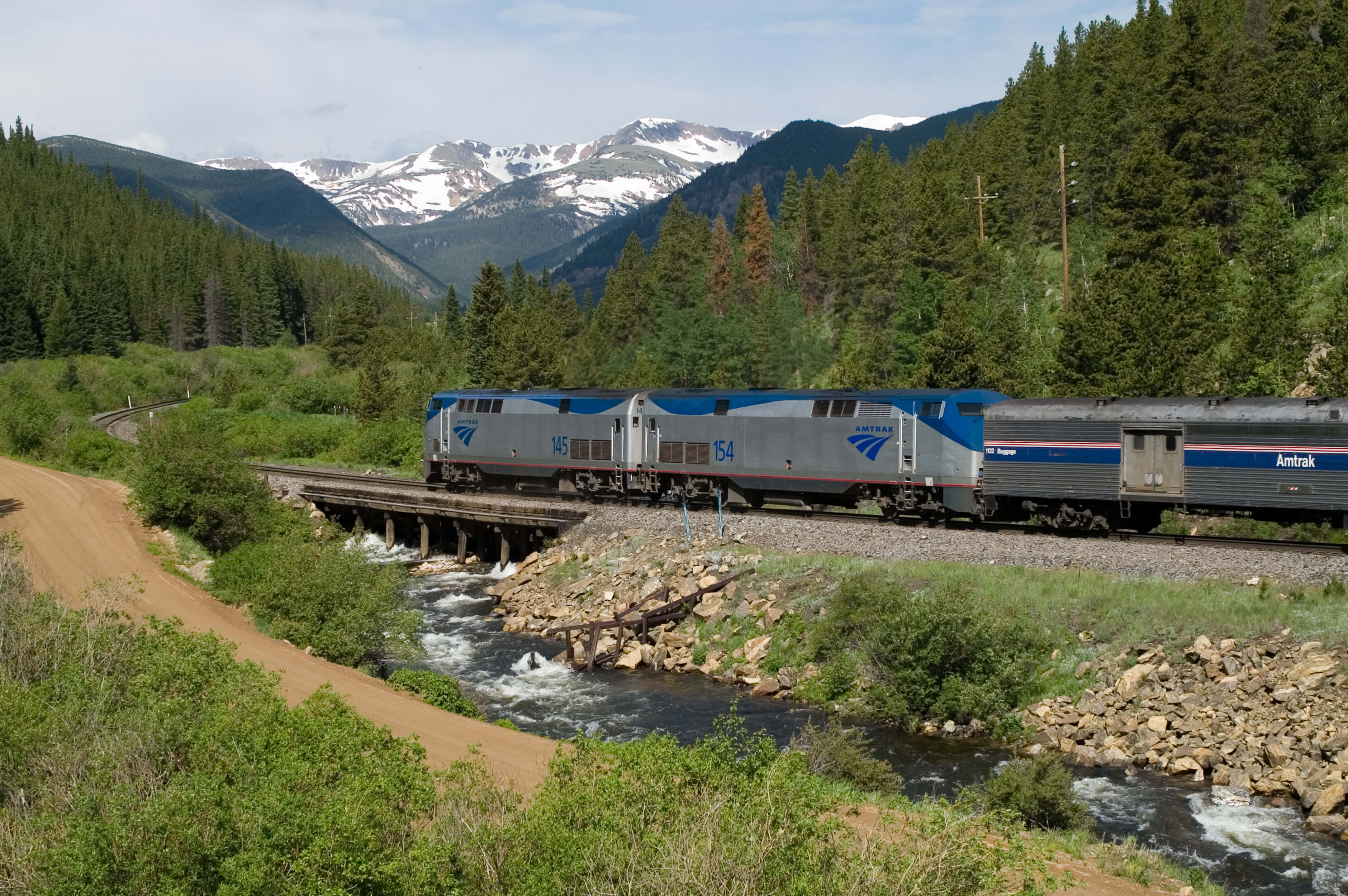 Amtrak's Empire Builder coming straight into Glacier National Park