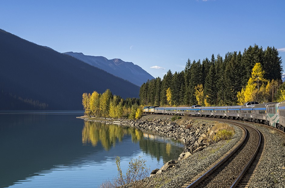 VIA Rail traveling through the Canadian Rockies