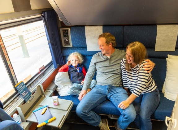 small child and family onboard amtrak in private room