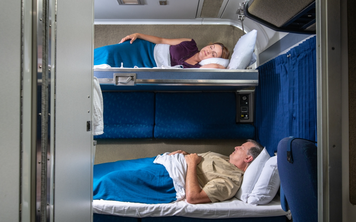 comfortable couple on amtrak bedroom suite bunk beds