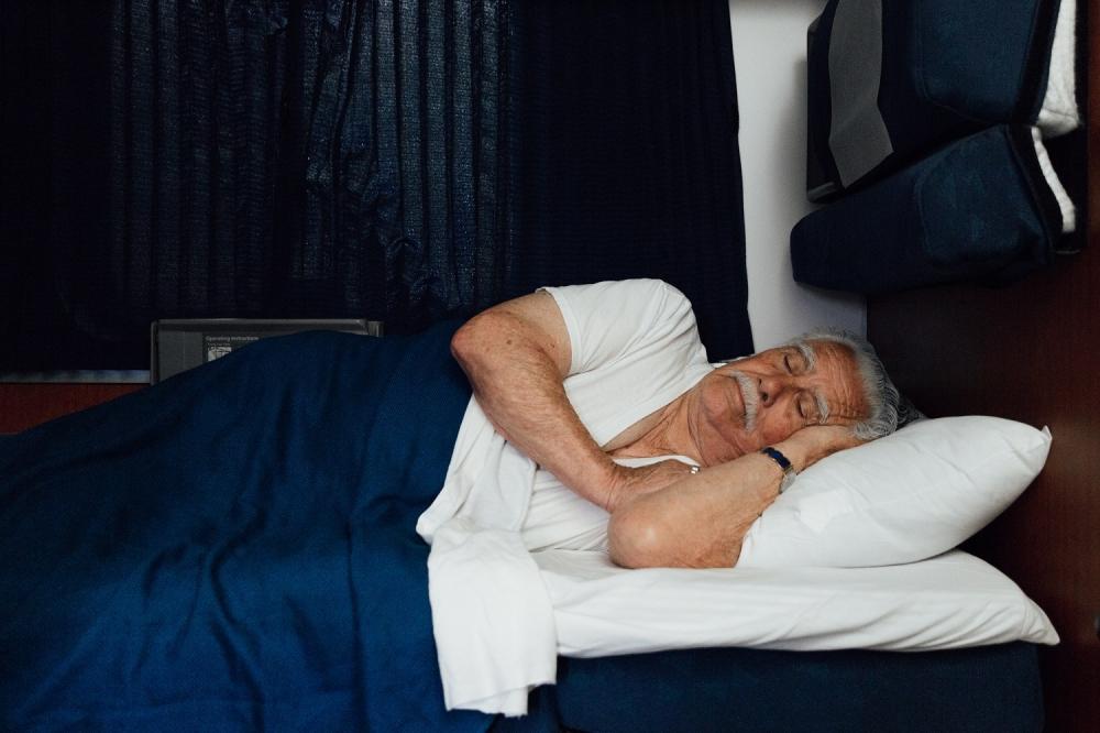 Accessible Bedroom Superliner Man Sleeping