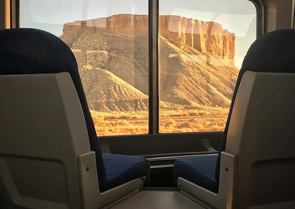 View of national park from inside an Amtrak train