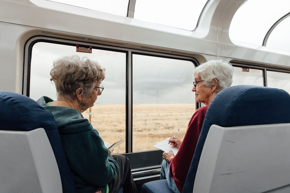 Two Older Women on Train