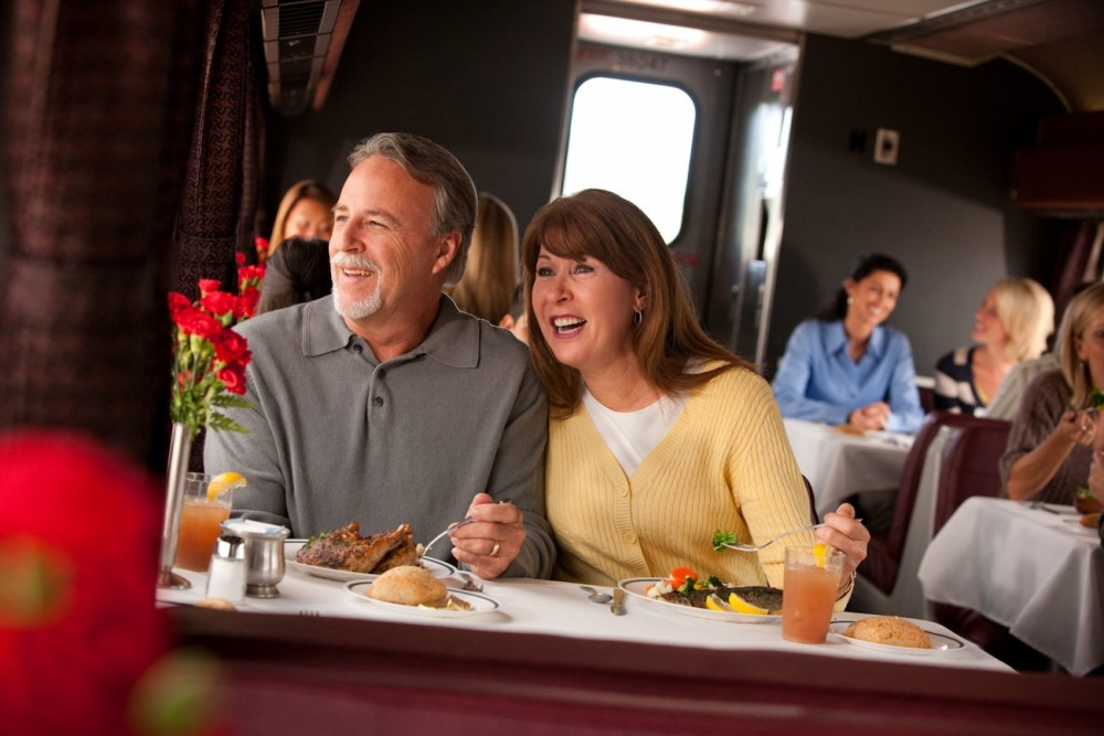 The Dining Car on Amtrak is the best way to enjoy the views and your meal.