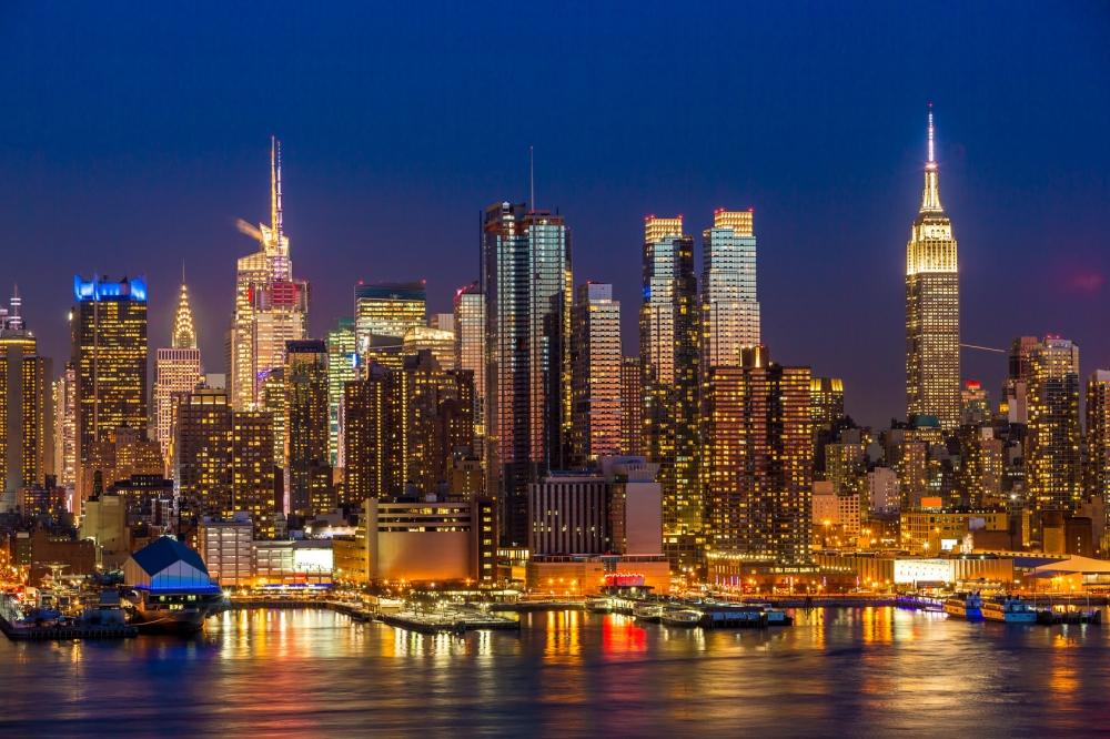New York City Manhattan midtown buildings skyline night