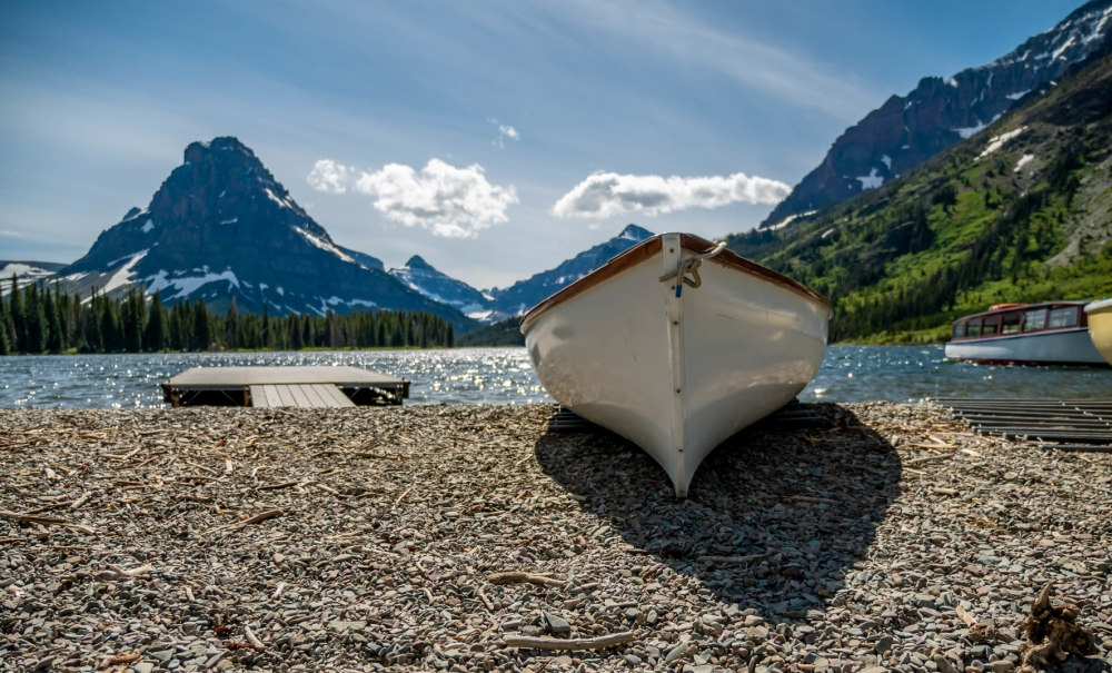Row Boat at Lower Two Medicine Lake, Glacier National Park