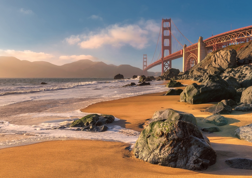 San Francisco and Golden Gate Bridge from Beach