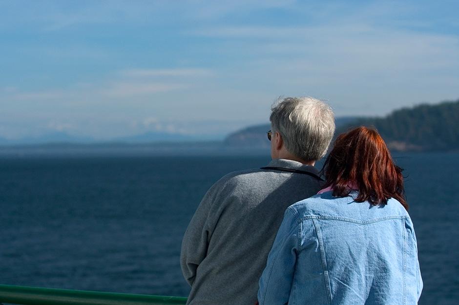 Couple overlooking a lake